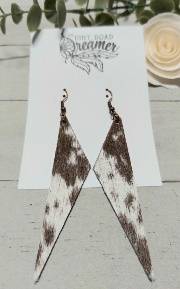 Brown Roan Triangle Earrings