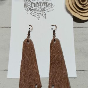 Brown Geometric Cowhide Earrings