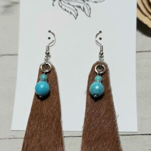 Brown Earrings with Turquoise Bead Accents
