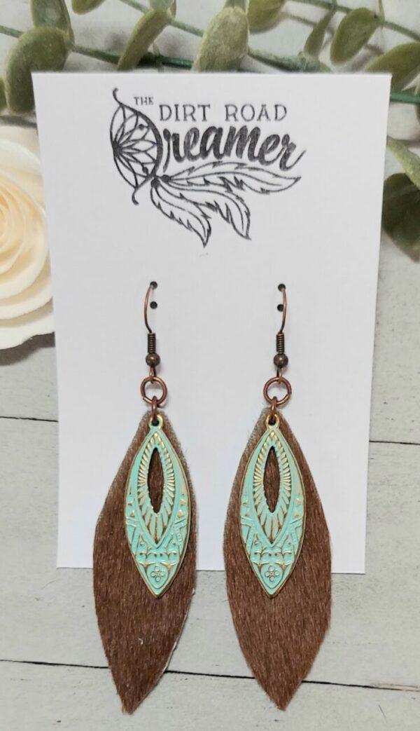 Brown Cowhide Earrings