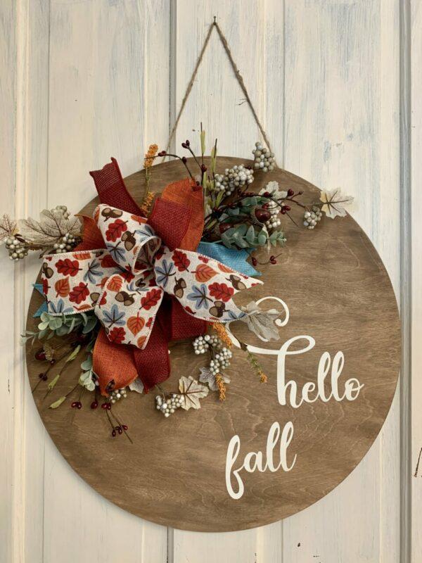 Hello Fall Embellished Bow Door Hanger