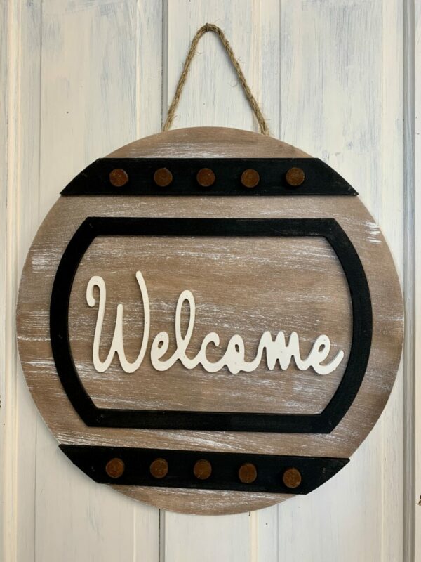 "Welcome Door Hanger with ""bolts"""