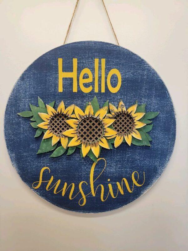 Hello Sunshine Sunflower Door Hanger