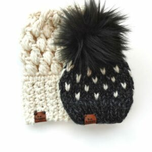 Puff Stitch Slouch + Happe Heart Hat | Charcoal