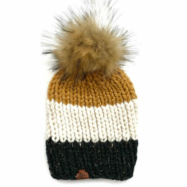 Adult Tri-Color Ribbed Hat   Obsidian + Off White + Mustard