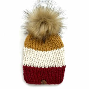 Adult Tri-Color Ribbed Hat | Cranberry + Off White + Mustard