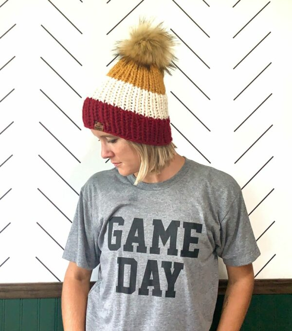 Adult Tri-Color Ribbed Hat   Cranberry + Off White + Mustard