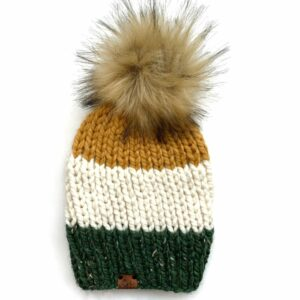 Adult Tri-Color Ribbed Hat   Kale + Off White + Mustard