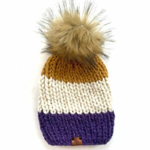 Adult Tri-Color Ribbed Hat   Iris + Off White + Mustard
