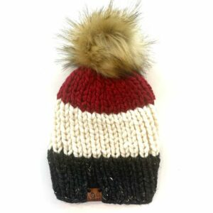 Adult Tri-Color Ribbed Hat | Obsidian + Off White + Cranberry