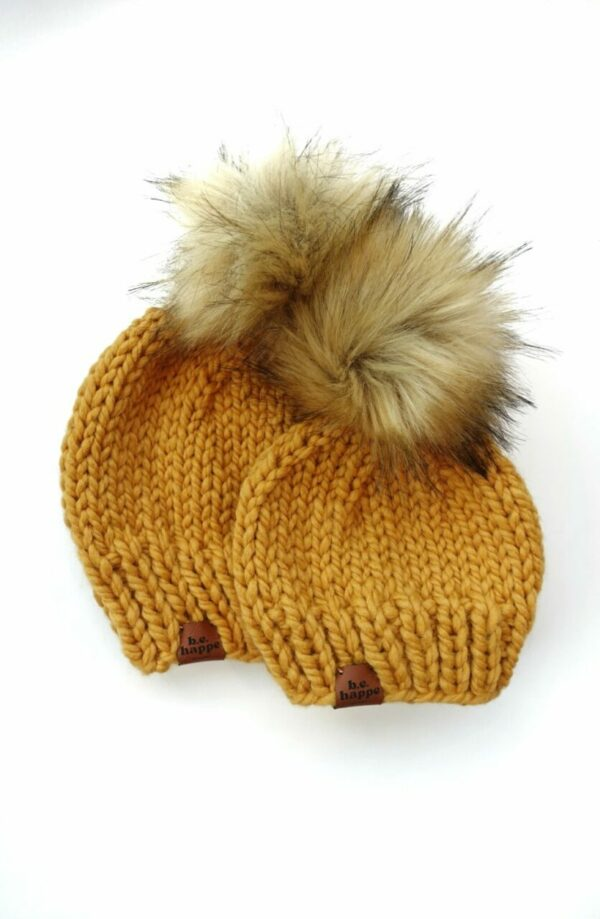 Mommy + Me Solid Knit Hat | Mustard