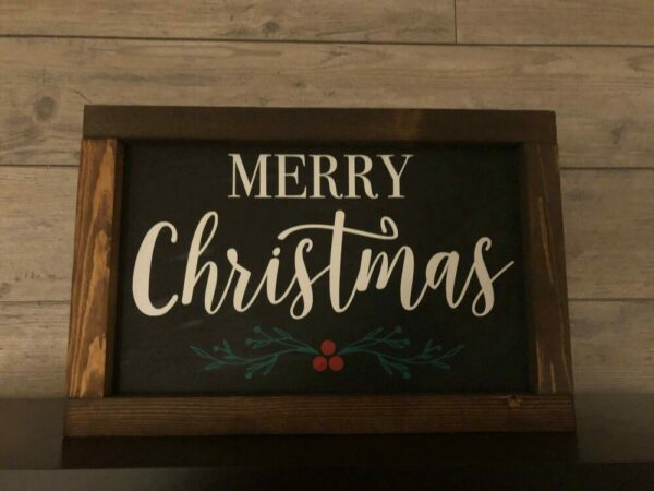Merry Christmas with Holly Framed Sign