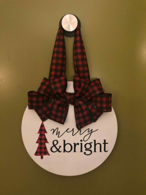 Merry and Bright Red Buffalo Round Door Hanger
