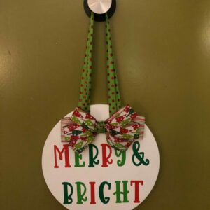 Merry and Bright Green and Red Round Door Hanger