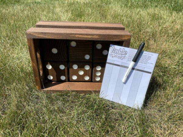 Hand Made Yard Dice and Crate