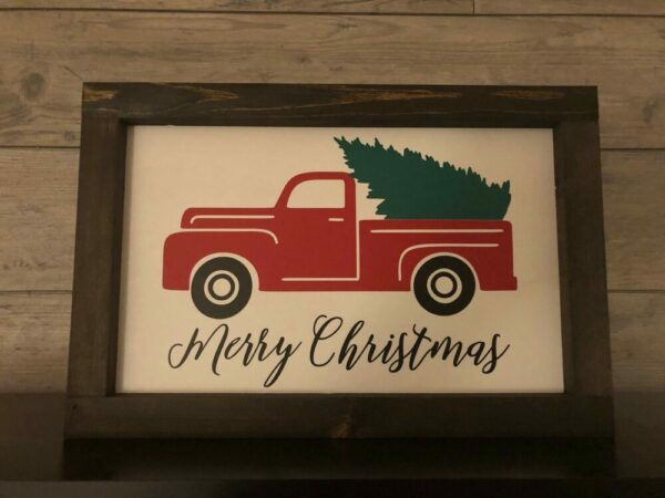 Merry Christmas with Red Truck Framed Sign