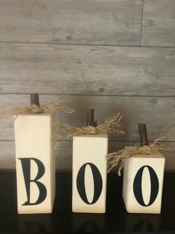 Set of Three Wooden Boo Pumpkins