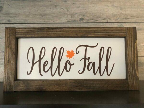 Hello Fall Framed Sign