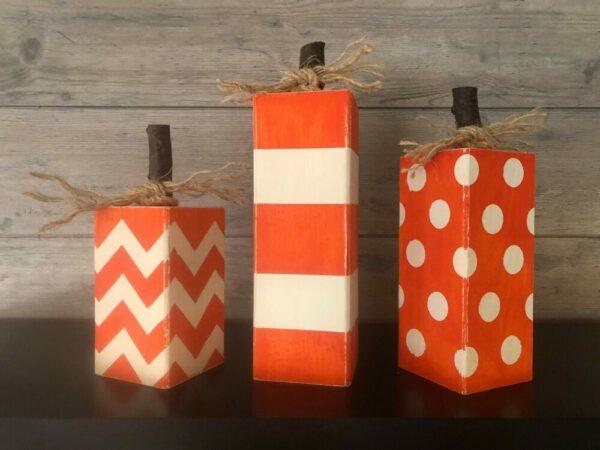 Set of Three Wooden Pumpkins