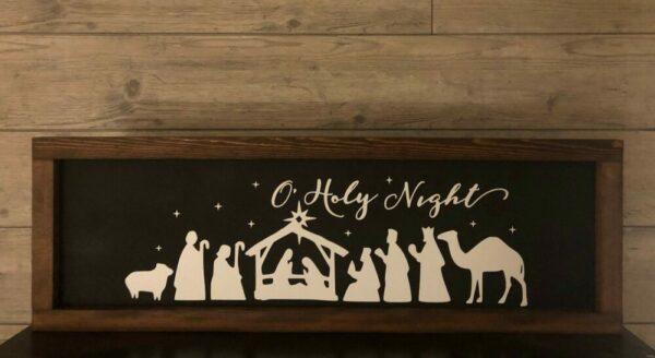O Holy Night Nativity Framed Sign