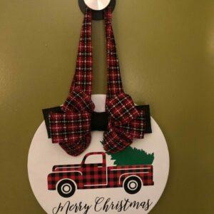 Merry Christmas Red Truck Door Hanger