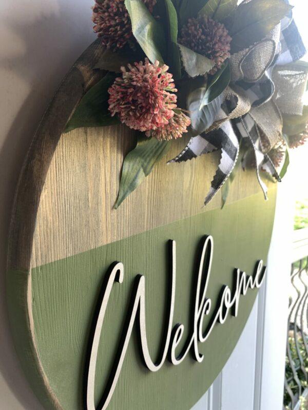 Sage & Clover Rustic Wooden Front Door Entryway Sign