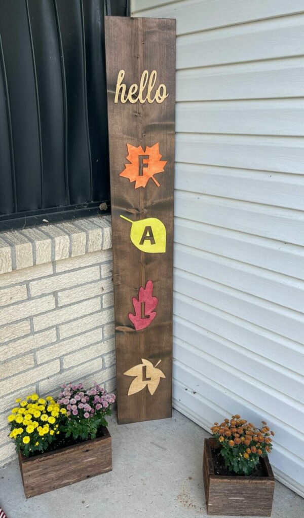Hello Fall Stained Leaves Porch Sign