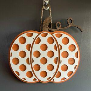 Stained Wooden Pumpkin Door Hanger