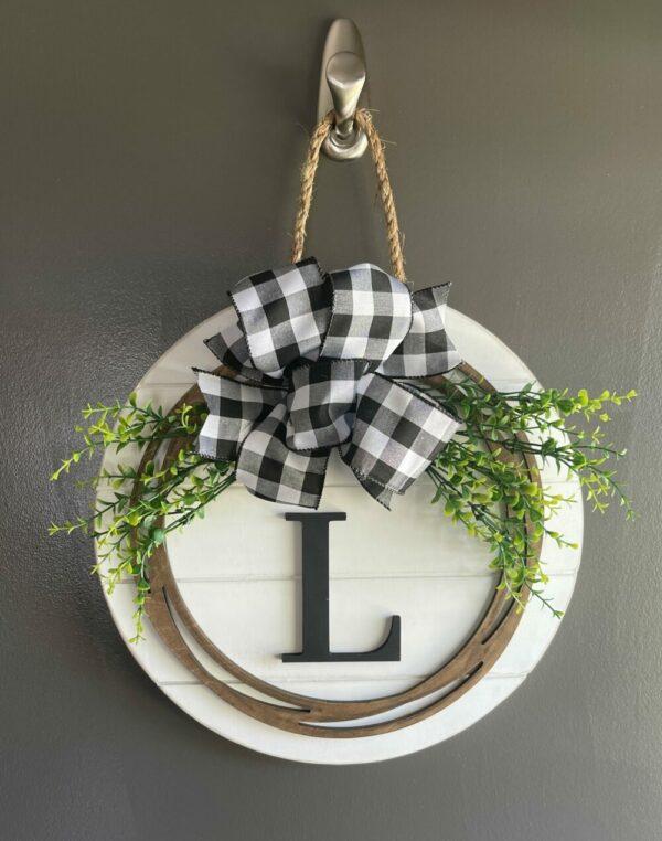 Monogram Shiplap Round Door Hanger