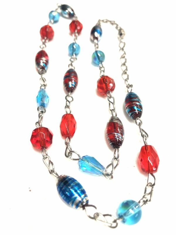 Handmade red & turquoise women's necklace