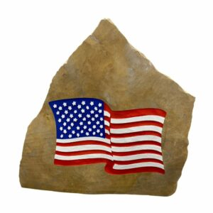 American Flag Engraved Stone