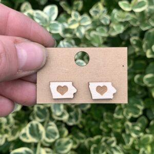 Iowa Love Wooden Stud Earrings