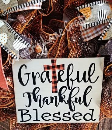 Fall Pumpkin Checkered Grateful Thankful Blessed Front Door Wreath