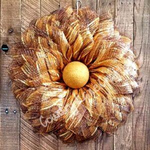 Fall Flower Mesh Front Door Wreath