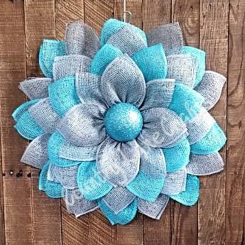 Turquoise & Gray Flower Front Door Wreath