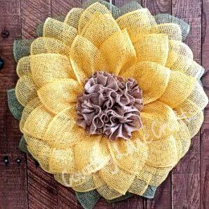 Sunflower Burlap Fall Front Door Wreath