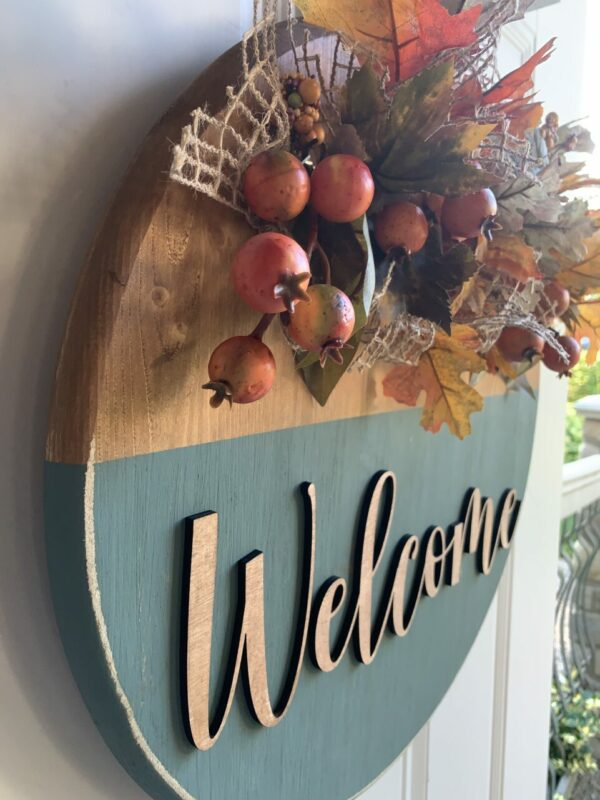 Orange and Teal Wooden Autumn Welcome Sign