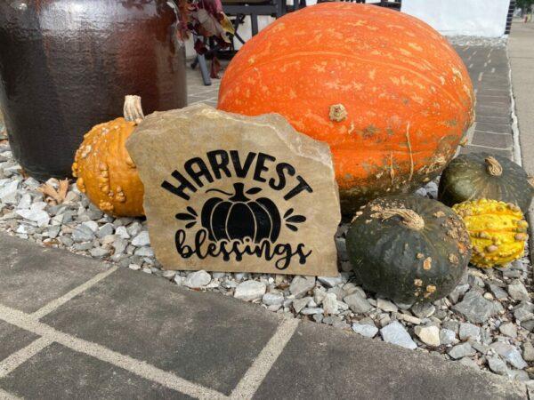 Harvest Blessings Engraved Stone