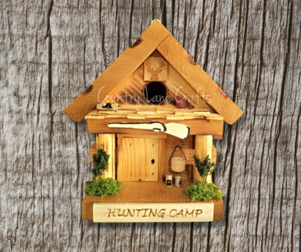 Hunting Camp Wood Log Cabin Themed Birdhouse