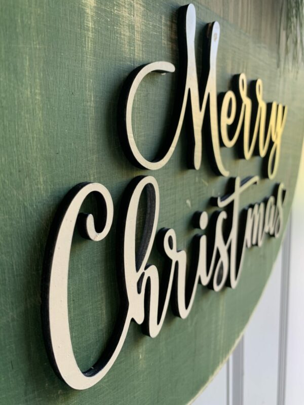 Rustic Green & Gold Merry Christmas Wooden Sign