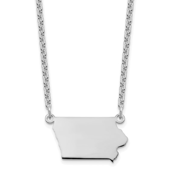 State of Iowa Sterling silver necklace with 18 inch chain