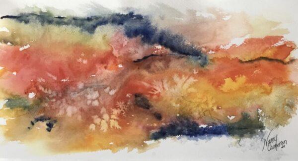 Colorful Hills of Iowa Original Watercolor