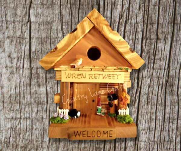 Wren Retweet wood log cabin style themed birdhouse