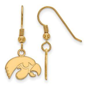 University of Iowa Hawkeyes Gold-plated Sterling Silver Tigerhawk dangle Earrings