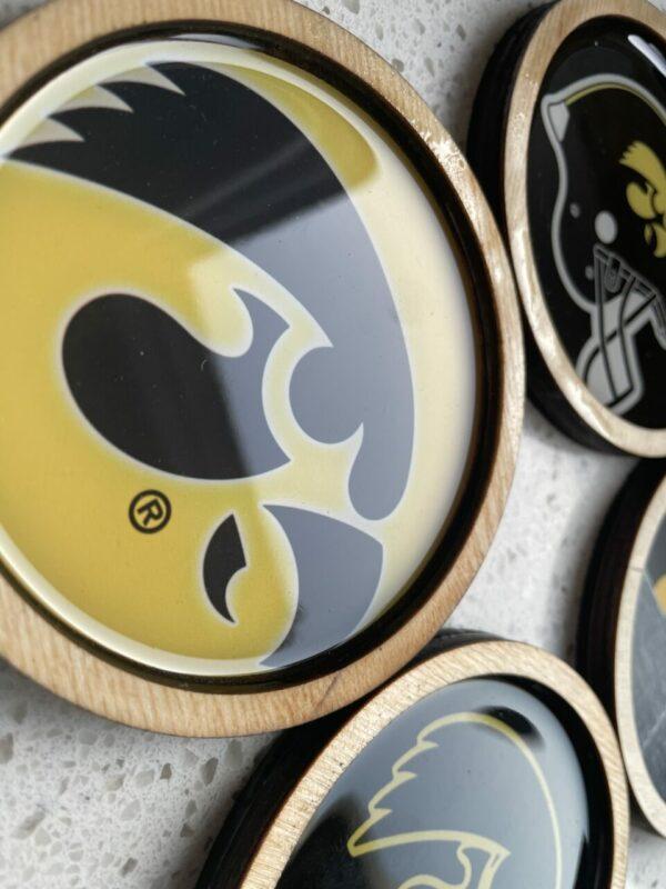 Wooden Hawkeye Coasters | Set of 5