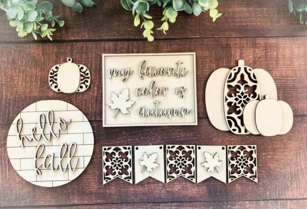 DIY Ornate Fall Tiered Tray Set