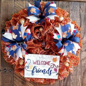 Welcome Friends Fall Front Door Wreath