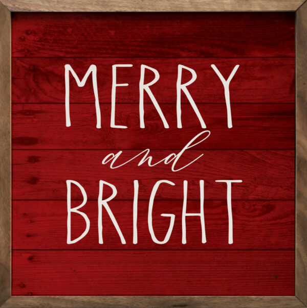 Skinny Merry and Bright – Kendrick Home Wood Sign