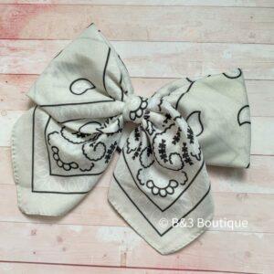 Ivory Bandana Cheer Bow- on hair tie
