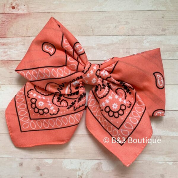 Coral Bandana Cheer Bow- on hair tie